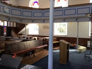 Worship area and pews from front